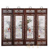 Chinese Antique Painted Porcelain Panels -Wall Hanging 27X02