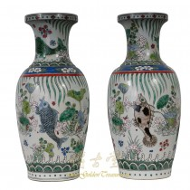 Chinese Antique Porcelain Koi Fish Vase - Pair 27XH01