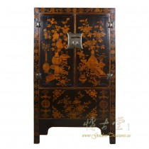 Chinese Antique Gilt Black Wardrobe/TV Armoire 28S01
