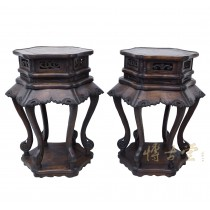Chinese Antique Carved Rosewood Pedestal Table/Plant Stand 28XH77