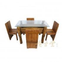 Chinese Antique Rustic Dining Table w/4 Chairs