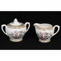 Crown Ducal Indian Tree Sugar Bowl w/Lid and Creamer