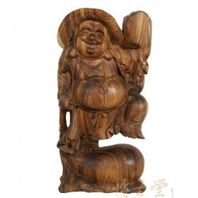 Chinese Antique Wood Carved Happy Buddha Statuary 12LP31