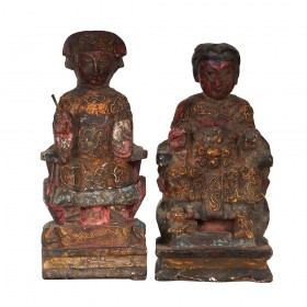Antique Chinese Emperor and Empress Wooden Statues 15XB05
