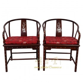 Chinese Antique Horseshoe Back Armchairs with MOP inlay- a pair 16LP51
