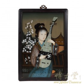 Chinese Antique Portrait Reverse Painting on Glass - girl playing Chinese lute 17LP29