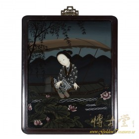 Chinese Antique Portrait Reverse Painting on Glass - girl on boating 17LP31