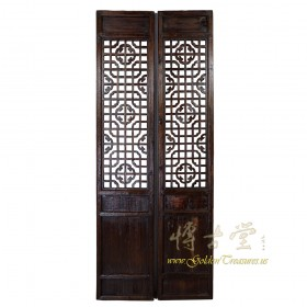 Chinese Antique Carved Lattice Interior Door/Wall Panels Pair 17LP74