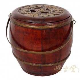 Chinese Antique Wooden Carved Rice Grain Bucket 22P72