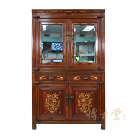 Chinese Antique Carved Bone inlayed Stackable NingBo Armoire 22P89