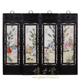 Chinese Antique Painted Porcelain Panels -Wall Hanging 27X03A