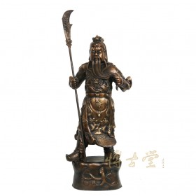 Chinese Antique Carved Bronze Guan Gong Statuary 27XH12