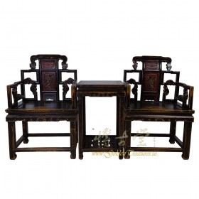 Chinese Antique Massive Carved Official ArmChairs with Tea Table set 28G08