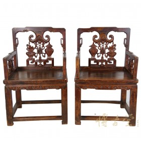 Chinese Antique Massive Carved Official ArmChairs 7L36