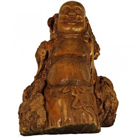 Chinese Antique Carved Stump Buddha Statuary